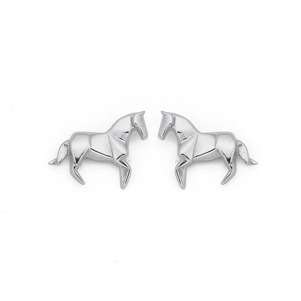 Silver Origami Horse Studs