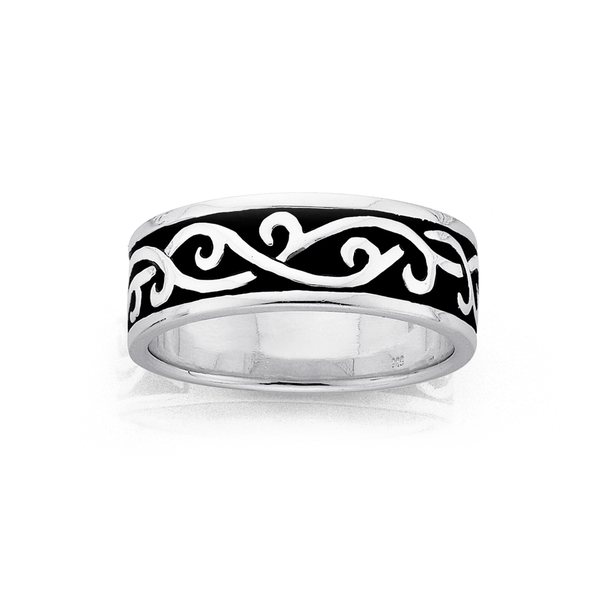 Silver Oxidised Swirl Gents Rings