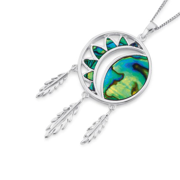 Silver Paua Shell Dreamcatcher Pendant