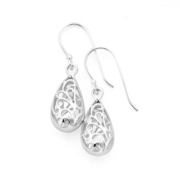 Silver Pear Filigree Hook Drop Earrings