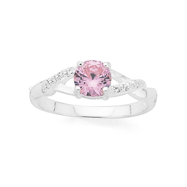 Silver Pink Cubic Zirconia Kiss Ring