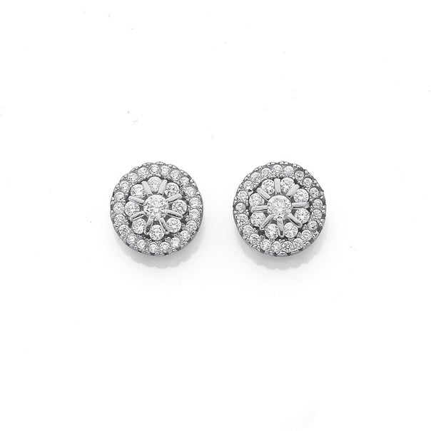 Silver Round Cluster CZ Earrings