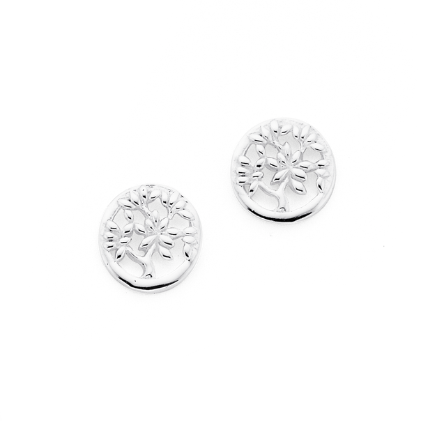 Silver Round Tree Of Life Stud Earrings