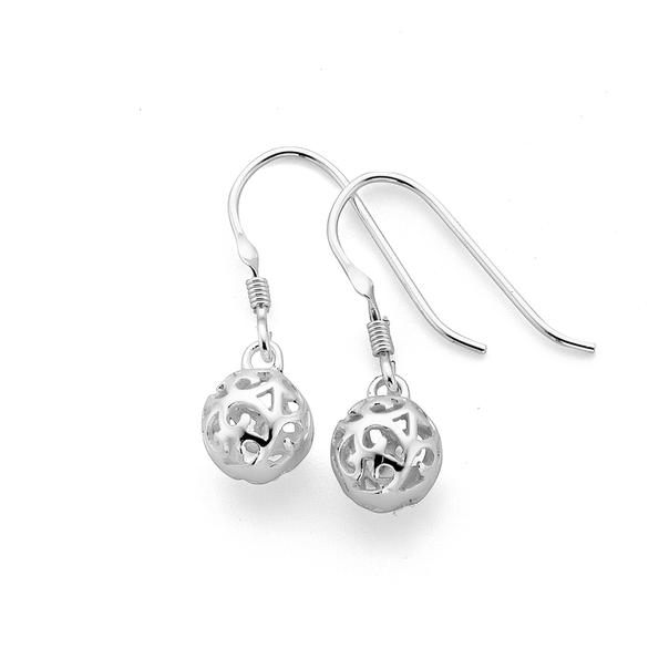 Silver Scroll Ball Hook Earrings