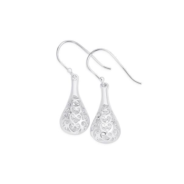 Silver Scroll Filigree Bomber Drop Earrings