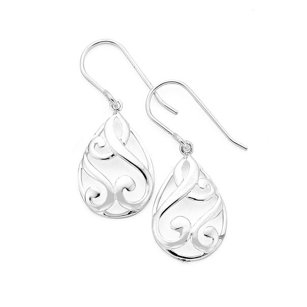 Silver Scroll Pear Shape Drop Earrings