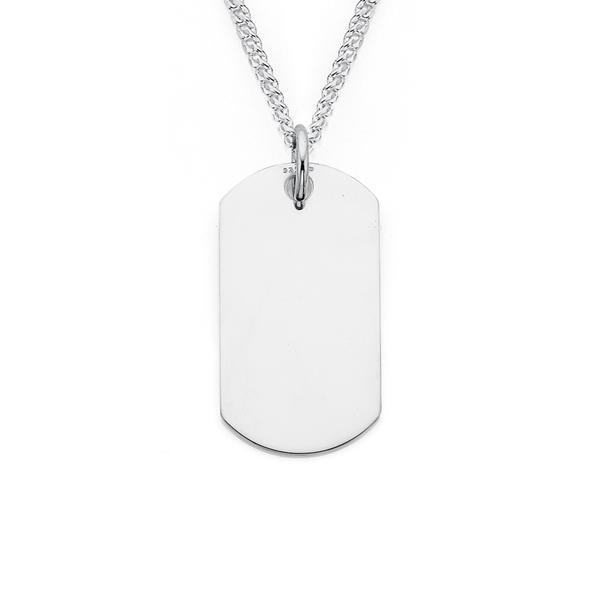 Silver Small Plain Dog Tag Pendant