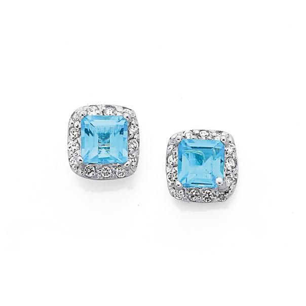 Silver Square Blue Topaz & CZ Cluster Earrings