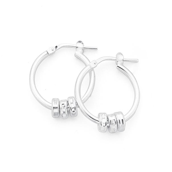 Silver Three Ring Hoops 15mm