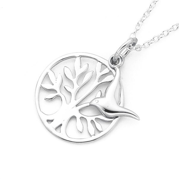 Silver Tree of Life & Bird of Peace Pendant