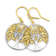 Silver Two Tone Tree Of Life In Circle Drop Earrings