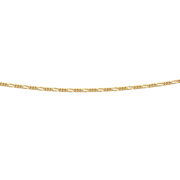 Solid 9ct Gold, 40cm 3+1 Figaro Chain