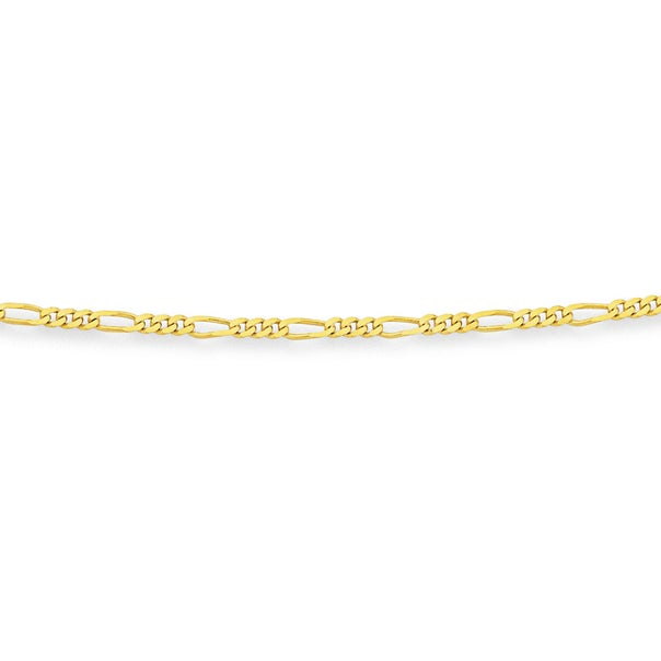 Solid 9ct Gold, 48cm 3+1 Figaro Chain