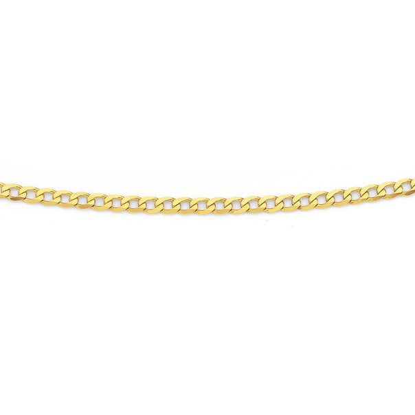 Solid 9ct Gold, 50cm Bevelled Curb Chain