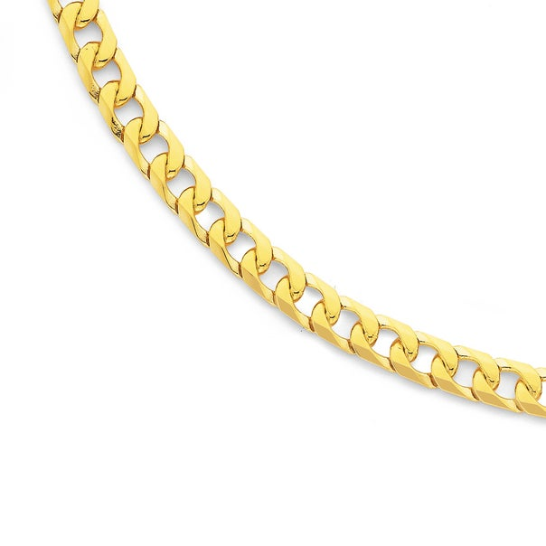 Solid 9ct Gold, 55cm Bevelled Curb Chain