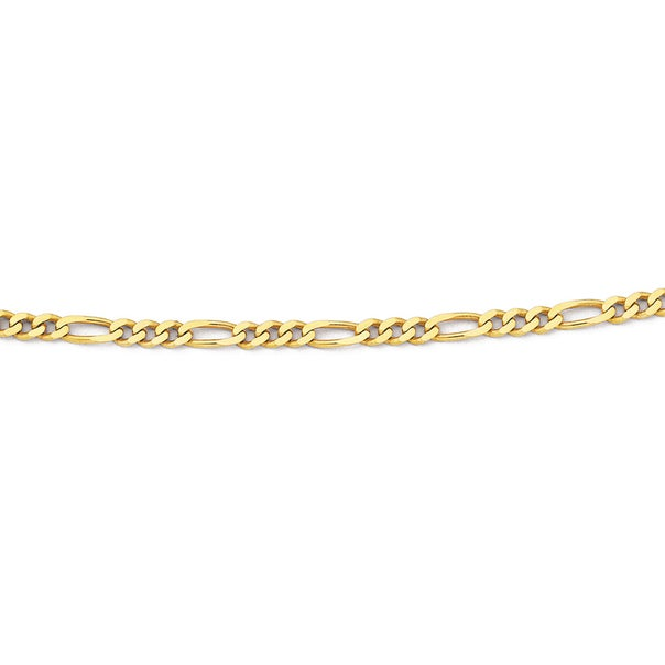 Solid 9ct Gold, 55cm Figaro 3+1 Chain
