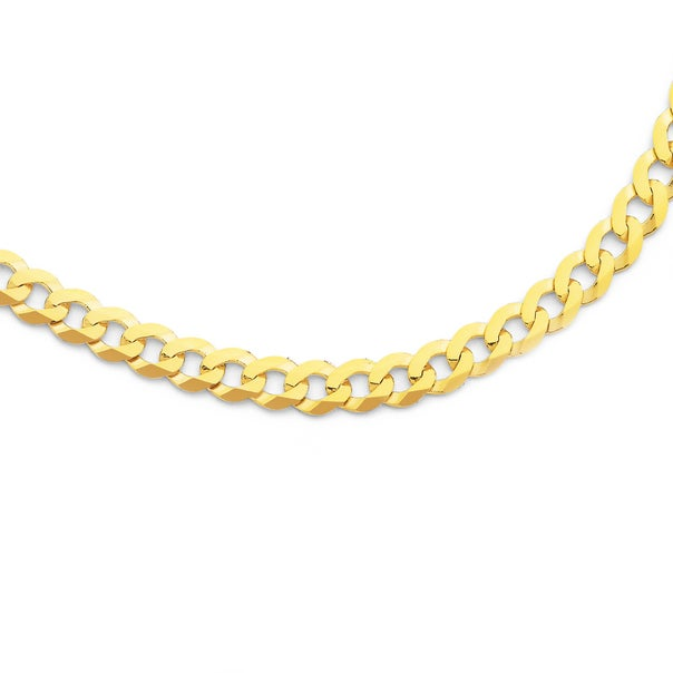 Solid 9ct Gold, 60cm Flat Bevelled Curb Chain