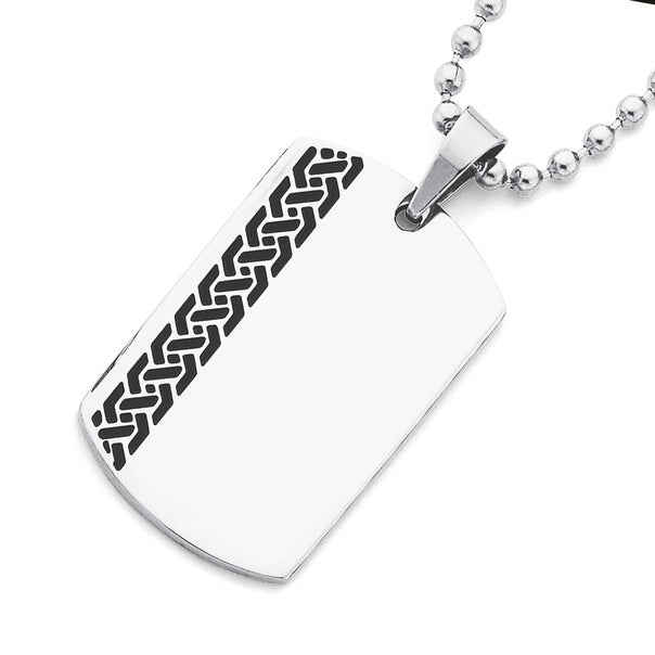 Stainless Steel Black Chain Disc Pendant