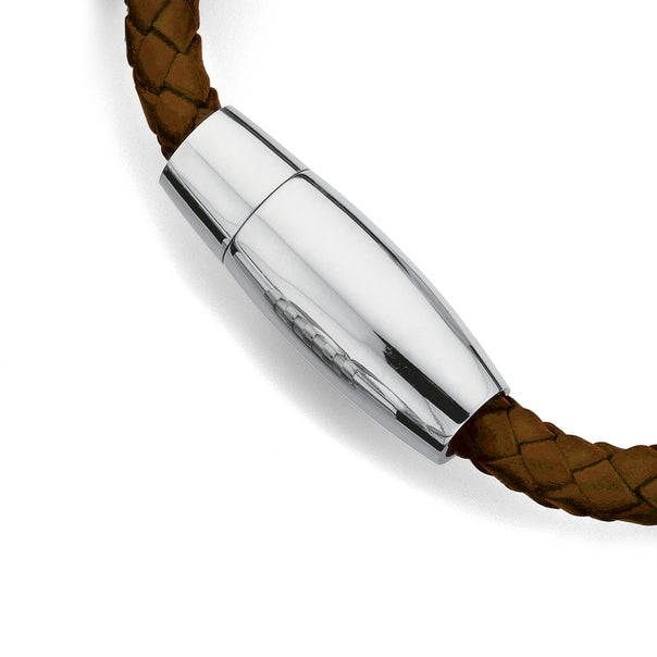 Stainless Steel Brown Plaited Leather Bracelet