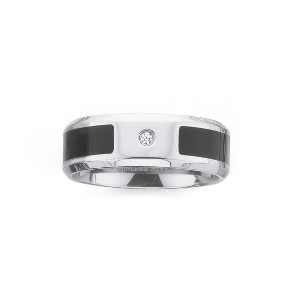 Steel Cubic Zirconia and Black Line Ring