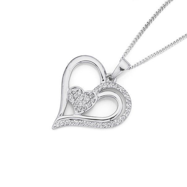 Sterling Sillver Pave CZ Heart Pendant