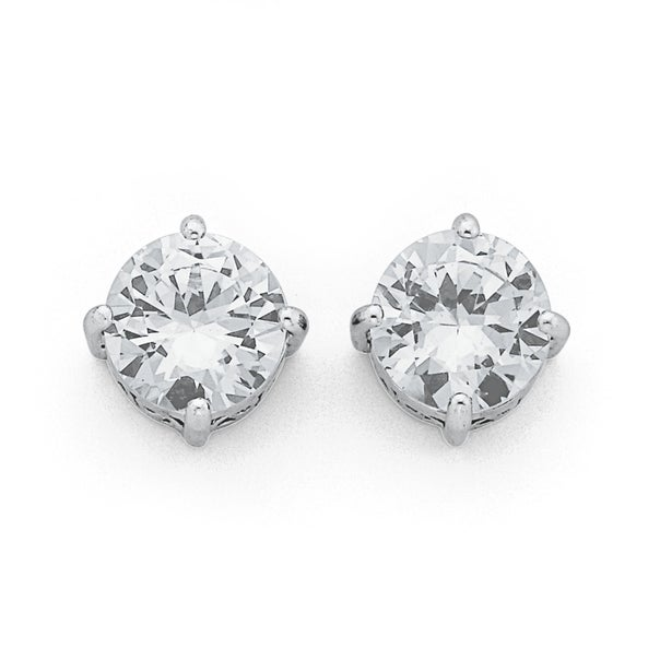 Sterling Silver 10mm Cubic Zirconia Studs