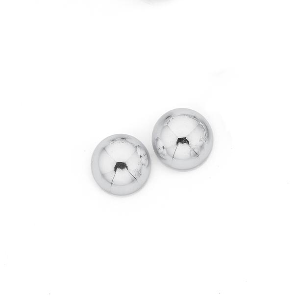Sterling Silver 10mm Half Dome Stud Earrings