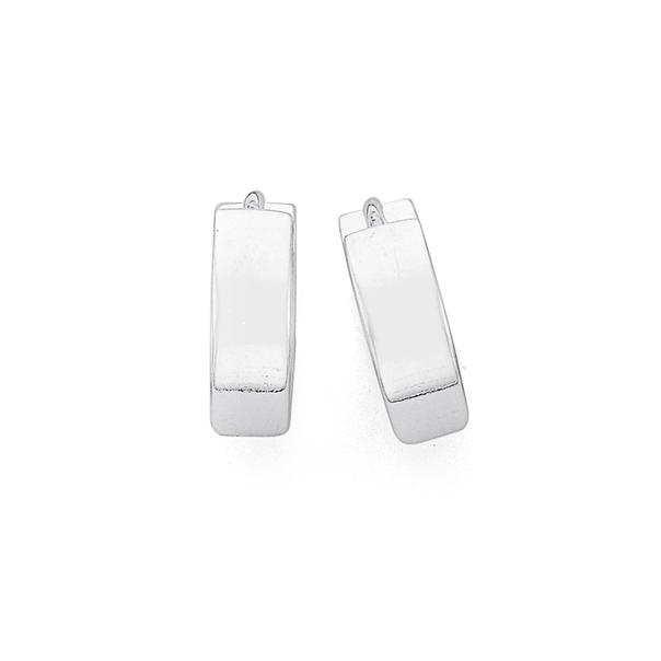 Sterling Silver 10mm Plain Huggie Earrings