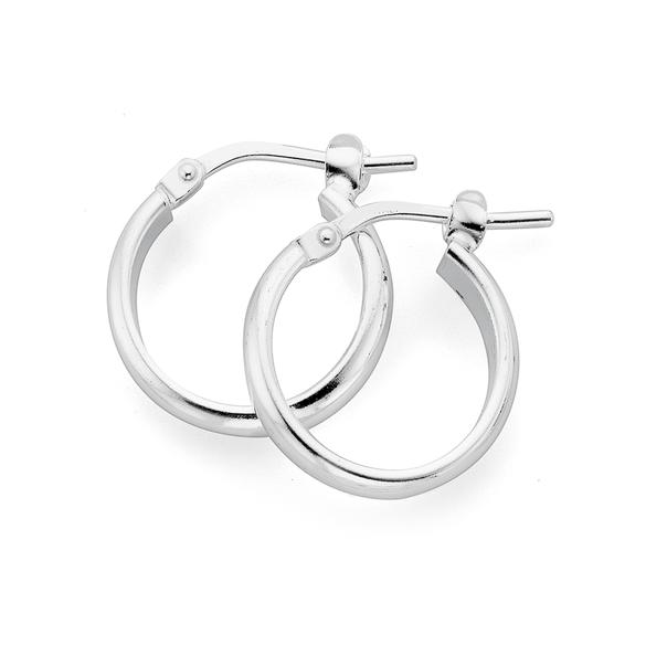 Sterling Silver 12mm Half Round Hoop Earrings