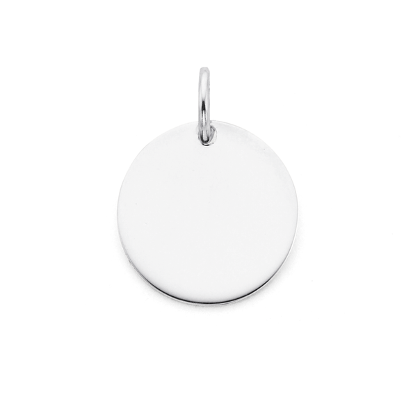 Sterling Silver 15mm Round Disc Pendant