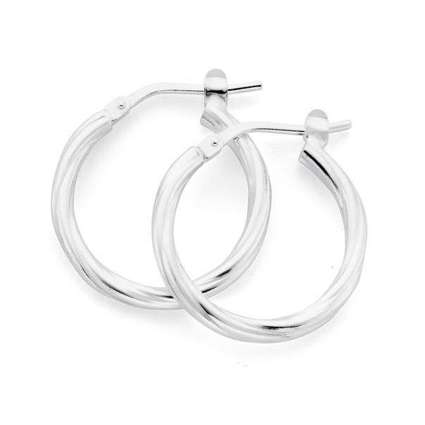 Sterling Silver 15mm Twist Hoops