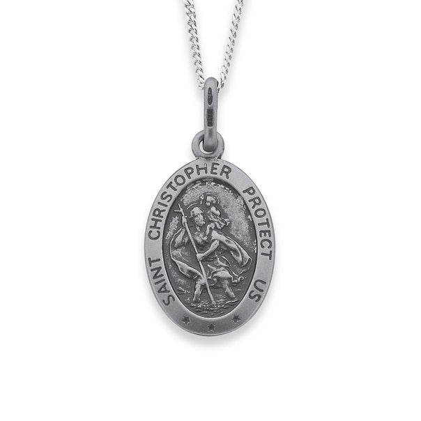 Sterling Silver 16mm Oval St. Christopher Medal