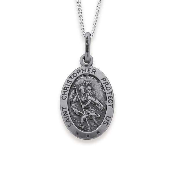 Sterling Silver 16mm Oval St. Christopher Medal