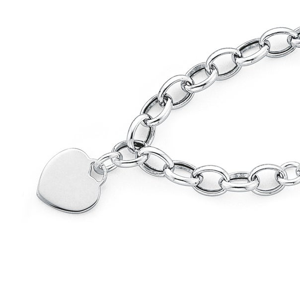 Sterling Silver 19cm Bracelet with Heart Disc