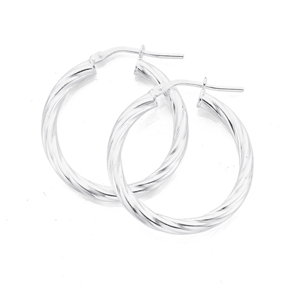 Sterling Silver 20mm 3mm Twist Hoop Earrings