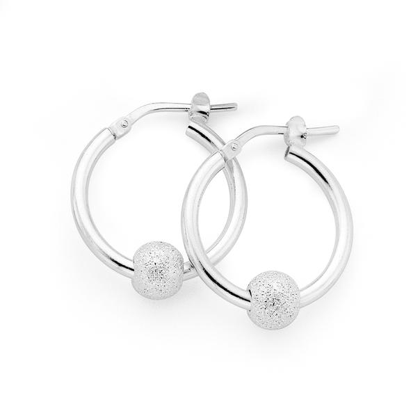 Sterling Silver 20mm Stardust Ball Hoop Earrings
