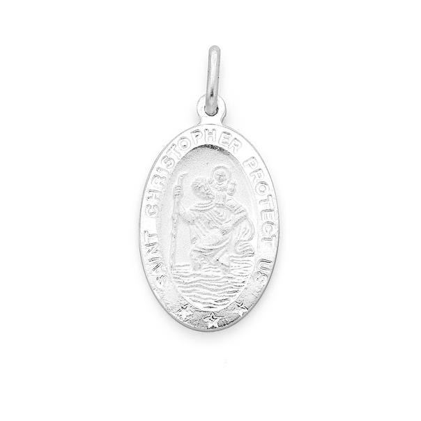 Sterling Silver 22mm Oval St. Christopher Medal