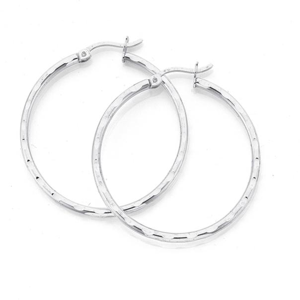Sterling Silver 30mm 3Side Facet Hoop Earrings