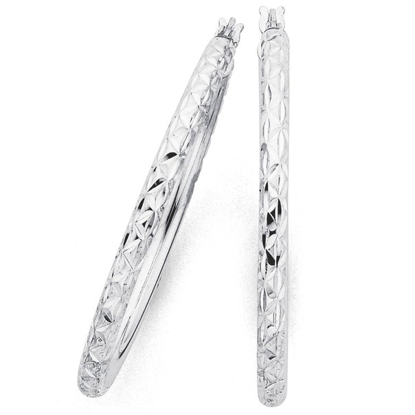 Sterling Silver 35mm Diamond Cut Hoops