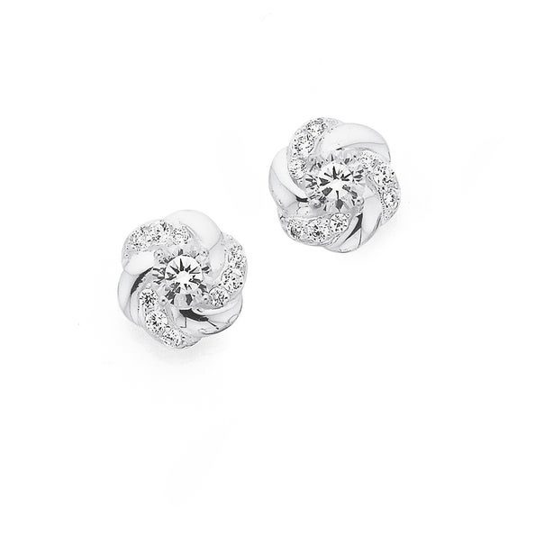 Sterling Silver 4 Claw CZ In Knot Studs