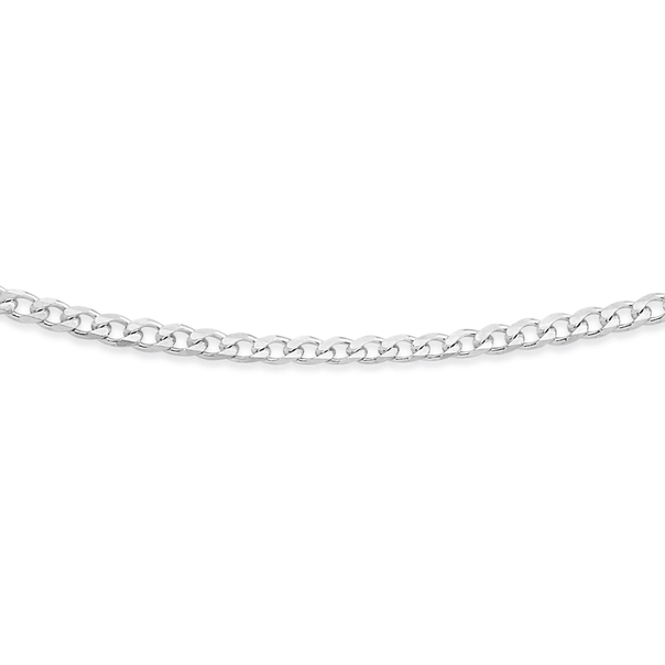 Sterling Silver 40cm Bevelled Curb Chain
