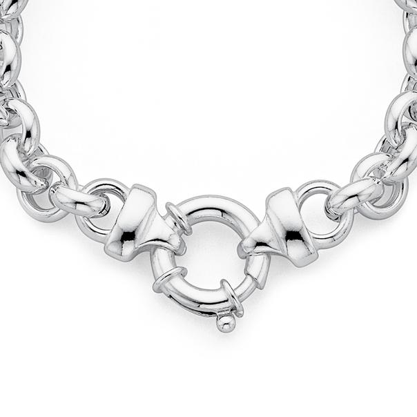 Sterling Silver 45cm Belcher Bolt Ring Necklet