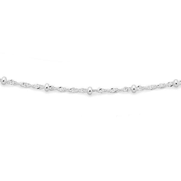 Sterling Silver 45cm Twist Rope & Ball Chain