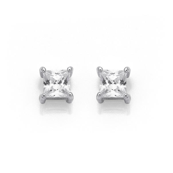 Sterling Silver 4mm Cubic Zirconia Square Studs