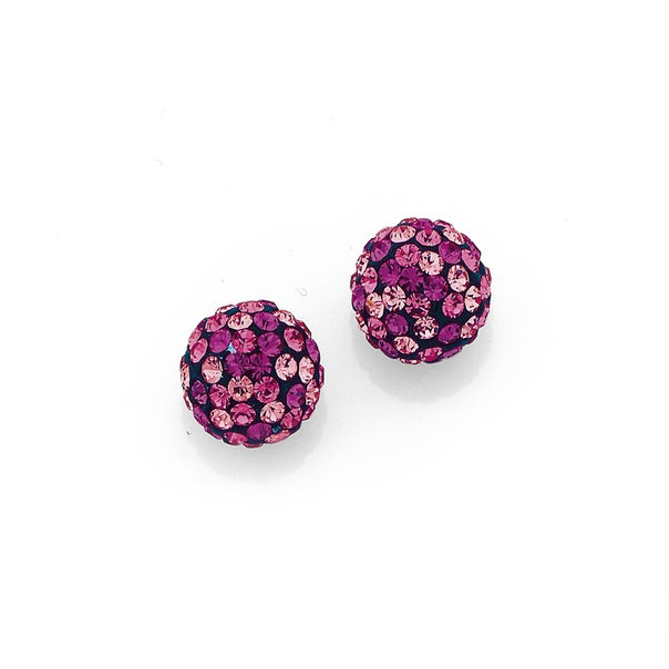 Sterling Silver 8mm Multi-Pink Crystal Ball Studs