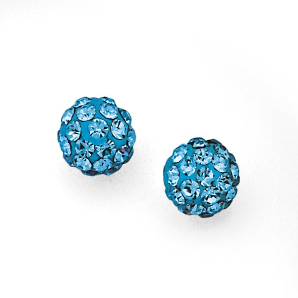 Sterling Silver Blue Crystal Ball Studs