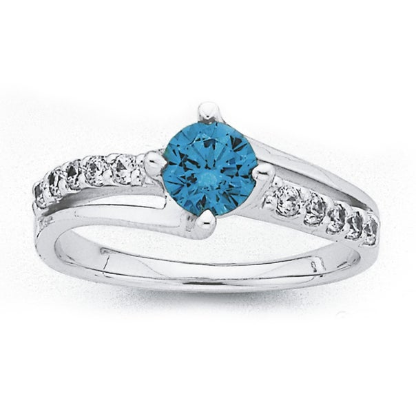 Sterling Silver Blue Cubic Zirconia Dress Ring