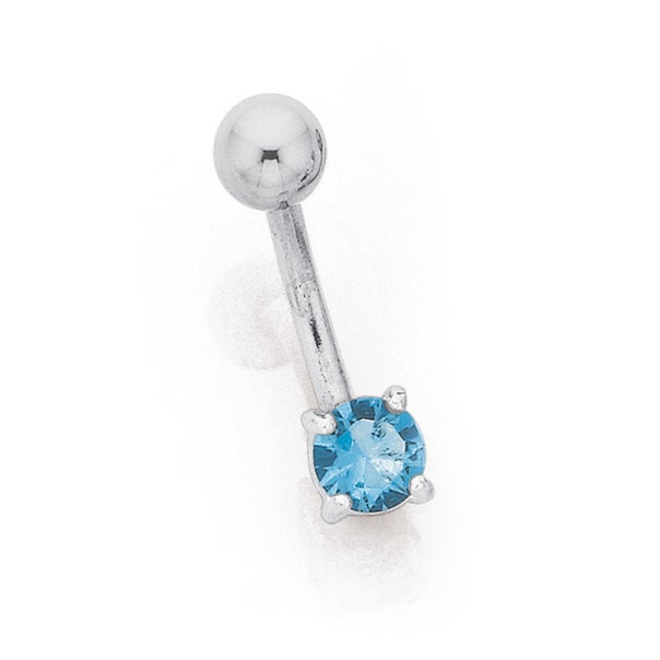 Sterling Silver Blue Cubic Zirconia Round Bananabel