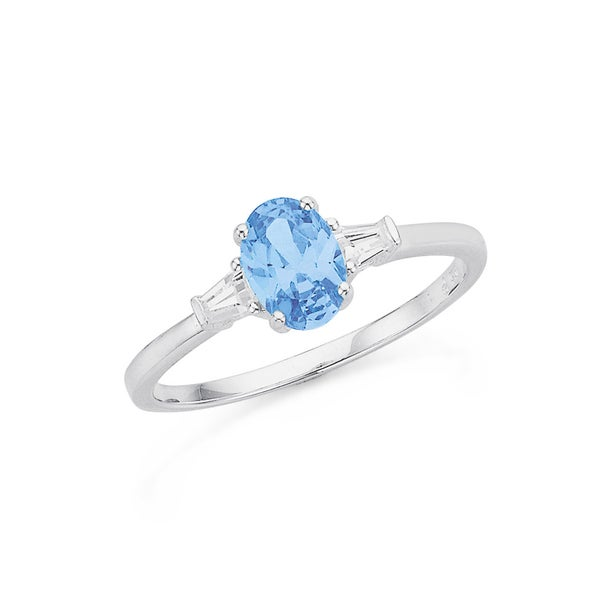 Sterling Silver Blue CZ Oval Ring