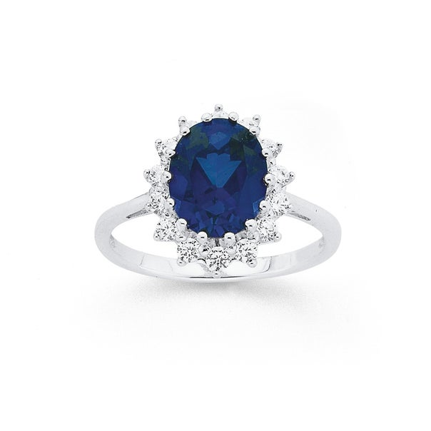 Sterling Silver Created Sapphire Cluster Ring